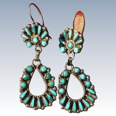 Vintage Petit Point Turquoise Earrings
