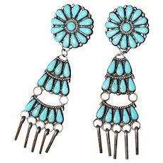 Large Vintage Turquoise Earrings