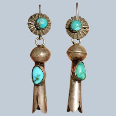 Large Vintage Squash Blossom Earrings With Blue Turquoise