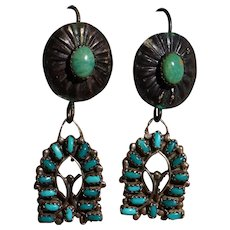 Vintage Turquoise Watch Band Earrings
