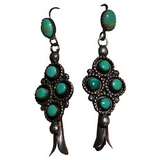 Vintage Signed Zuni Turquoise Earrings