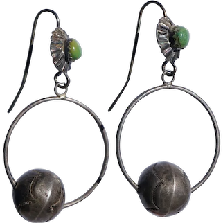Old Pawn Hoop Earring With Large Stamped Bead