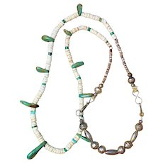 Vintage Turquoise and Heishi Necklace With Bench Made Beads