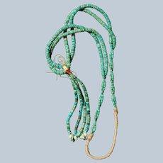 Vintage Turquoise Heishi Necklace With Jacla