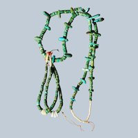 Santo Domingo Cerrillos Turquoise Heishi Necklace With Jacla