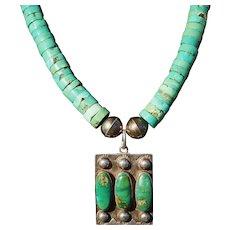 Vintage Fred Harvey Era Cerrillos Turquoise Pendant Necklace