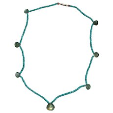 Faceted Turquoise and Labradorite Drop Necklace