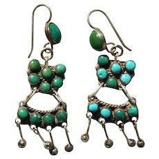 Early Cerrillos Turquoise Earrings