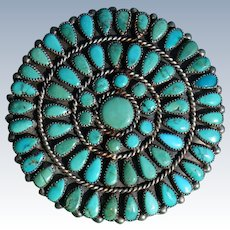 Turquoise Cluster Pin By Navajo Artist Victor Moses Begay