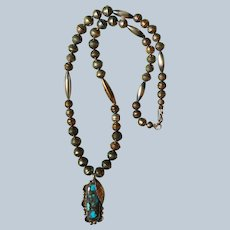 Vintage Candelaria Turquoise Pendant Necklace