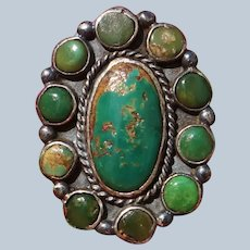 Vintage Cerrillos Turquoise Cluster Ring