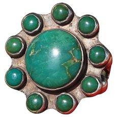 Vintage Green Turquoise Satellite Ring