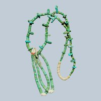 1930's Turquoise Tab Necklace With Jacla
