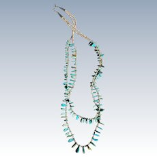 Vintage Turquoise Tab and Heishi Necklace