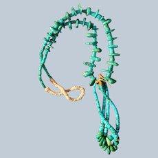 Navajo Cerrillos Turquoise Tab Necklace Circa 1920's