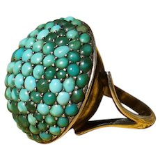 Antique Pave Turquoise Ring