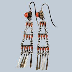 Zuni Coral Ladder Earrings
