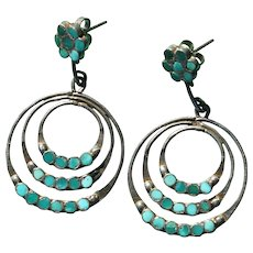 Vintage Turquoise Inlaid  Earrings