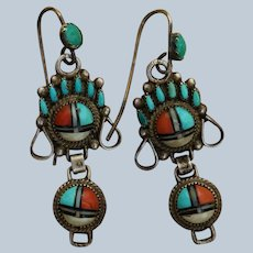 Vintage Zuni Watch Band Earrings