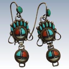 Vintage Zuni Watch Band Earrings