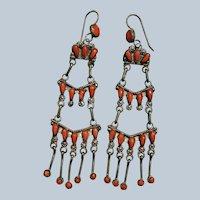 Zuni Petit Point Coral Chandelier Earrings