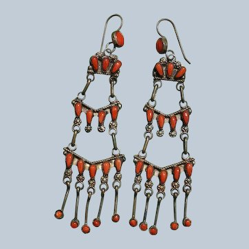 Zuni Petit Point Coral Chandelier Earrings