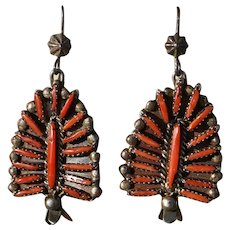 Vintage Zuni Coral Needle Point Squash Blossom Earrings