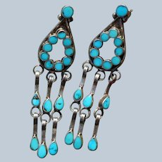Vintage Zuni Chandelier Turquoise Earrings