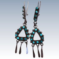 Vintage Zuni Petit Point Turquoise Earrings