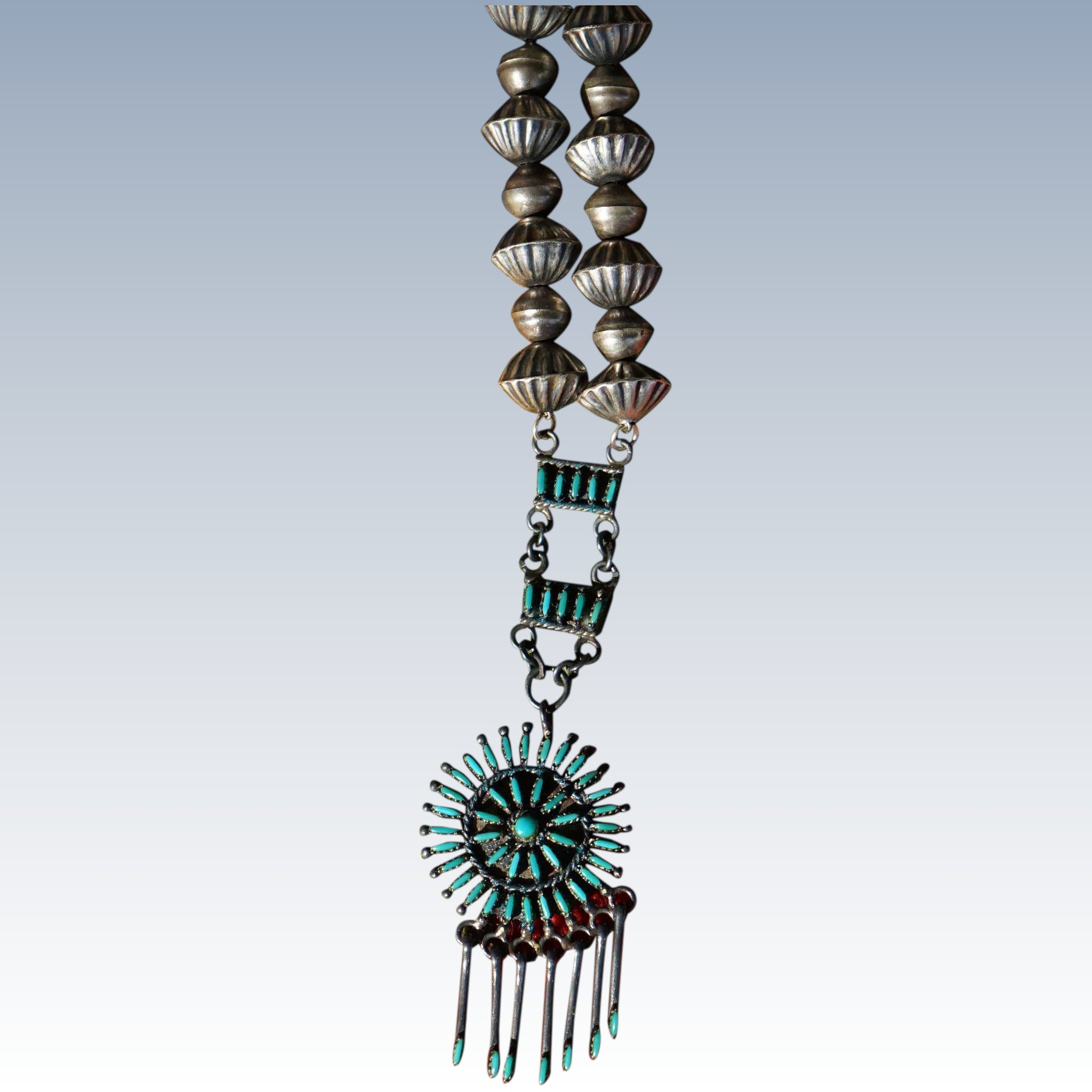 strands of with onyx zuni charm this beads necklace pin pendant native black inlay american