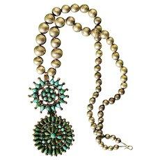 Vintage Turquoise Zuni Pendant Necklace