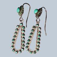 Vintage Petit Point Turquoise Hoop Earrings