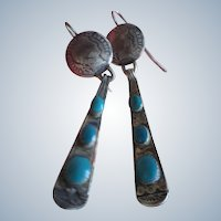 Navajo Hammered Dime and Drop Earrings