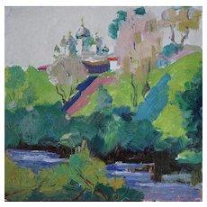 Vintage Russian Impressionist Landscape Painting