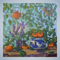 Blue Willow Bowl And Hopi Pot Still Life Painting