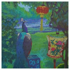 Peacock Oil Painting by  Artist Rachel Uchizono