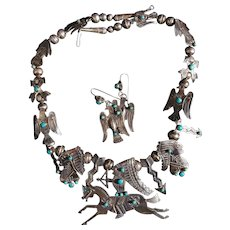 Fred Harvey Era Fetish Necklace & Matching Earrings With Eagles, Indians and Crossed Arrows