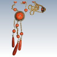 Victorian Coral Necklace With Drops