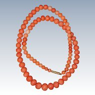 Victorian Orange Coral Necklace With Barrel Clasp