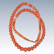 Victorian Orange Coral Necklace With Barrel Clasp