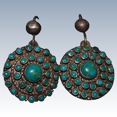 Vintage Fred Harvey Natural Turquoise Cluster Earrings