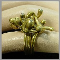 Brass Abstract Artist Ring, 1960's, Size 8.