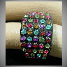 1960's Black Lucite Ring with Colorful Rhinestones.