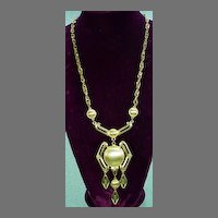 1970's Abstract  Brushed Gold Tone Lisner Pendant, Mint Condition!