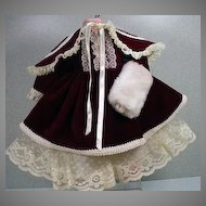 Lovely Victorian Inspired Doll Dress with Detachable Cape and Muff..