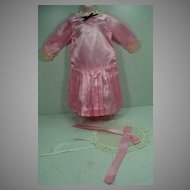 Pink Satin Dress and Hat for Large Composition or Bisque  Doll..