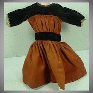 Lovely, Vintage Doll Dress in Velvet and Wool