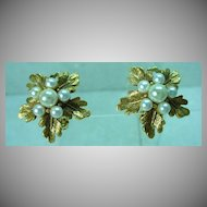 Elegant Florenza Gold Tone, Leaf and F aux Pearl Earrings, 1960's