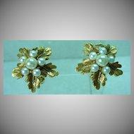 Elegant Florenza Gold Tone, Leaf and F aux Pearl Earrings, 1960's