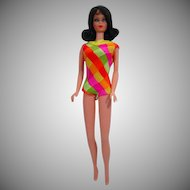 Mattel 1969 Twist 'N Turn Barbie with Brunette Hair and Orig. Bathing Suit.